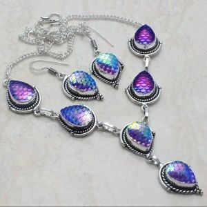 Mermaid Scale Silver Necklace Earring Set